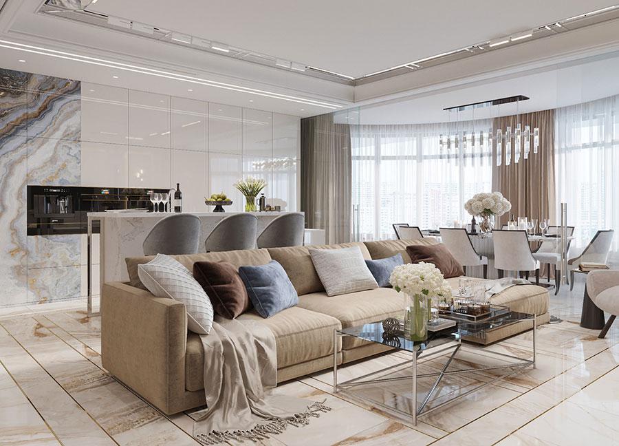Progetto di open space cucina soggiorno classico n.03