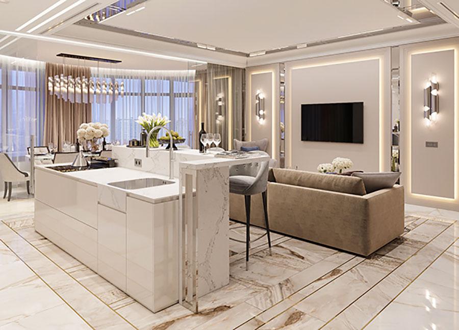 Progetto di open space cucina soggiorno classico n.04