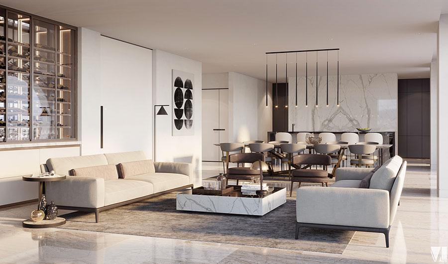 Progetto di open space cucina soggiorno classico n.05