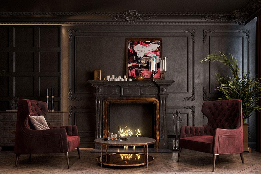 Idee per arredare un soggiorno con camino classico n.01