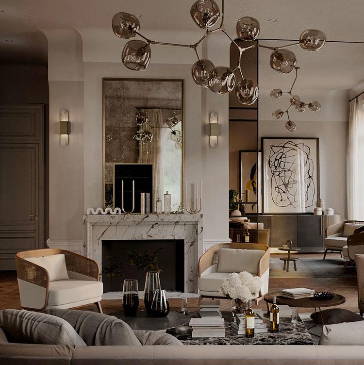 Idee per arredare un soggiorno con camino classico n.04
