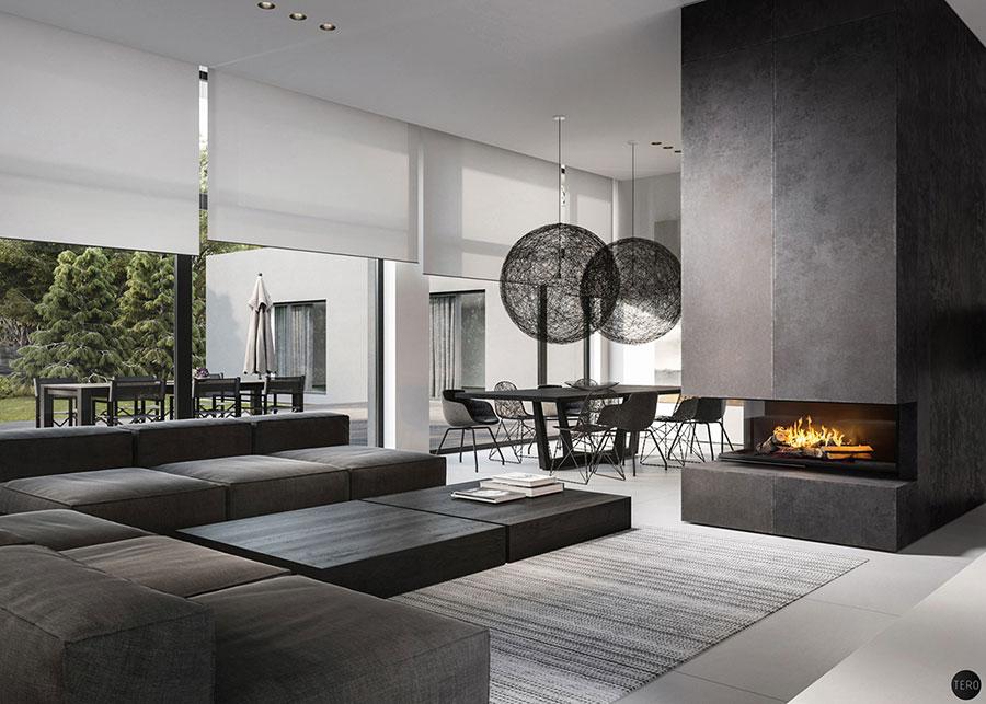 Idee per arredare un soggiorno con camino moderno n.01