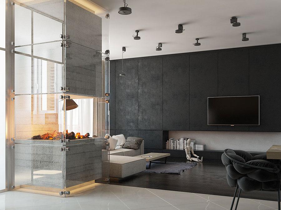 Idee per arredare un soggiorno con camino moderno n.02