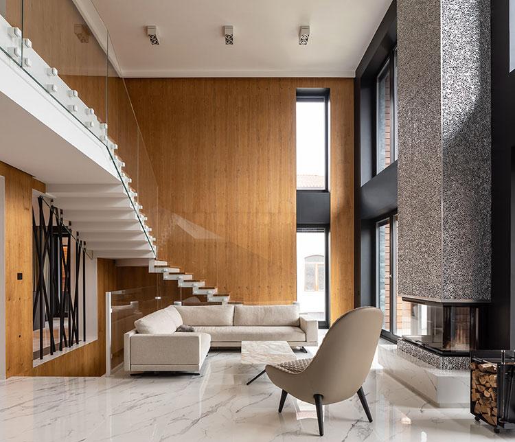 Idee per arredare un soggiorno con camino moderno n.03