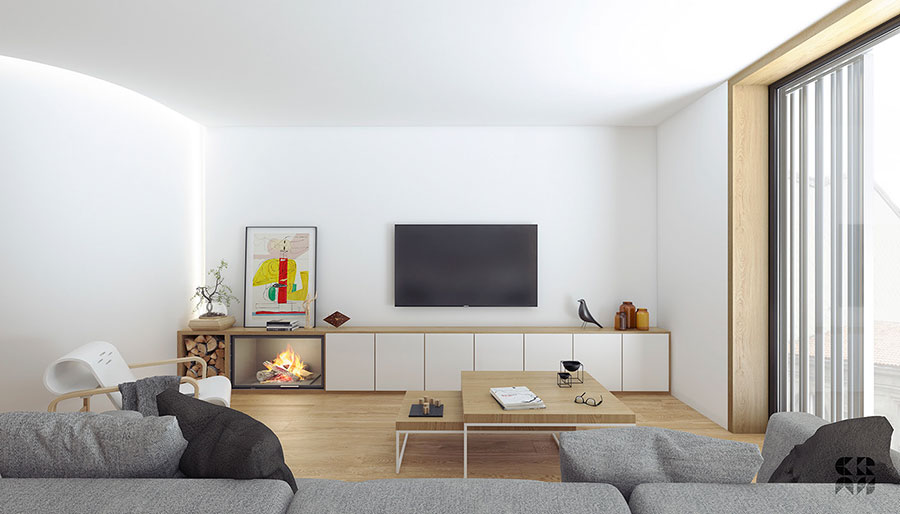 Idee per arredare un soggiorno con camino moderno n.04