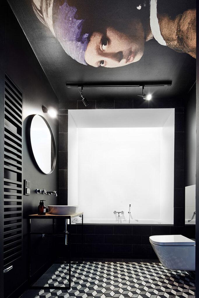 Idee per bagno nero e bianco vintage n.01