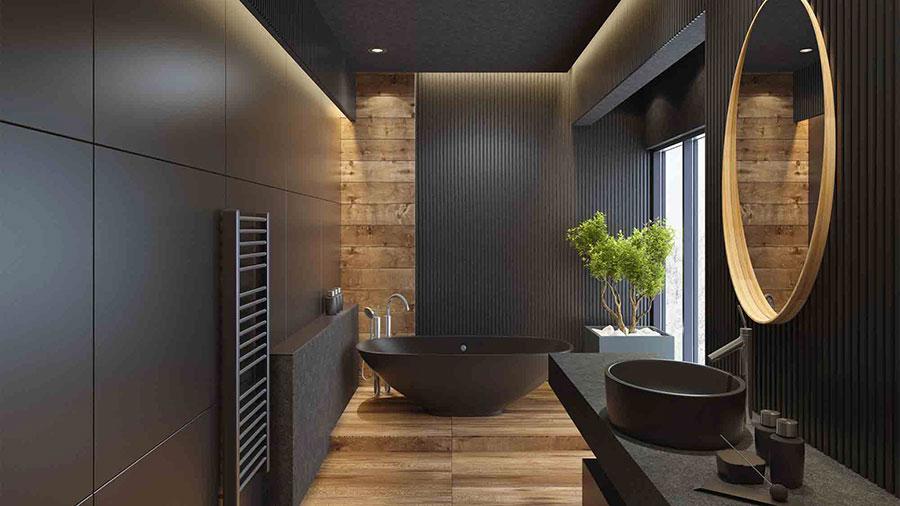 Idee per bagno nero e legno n.01