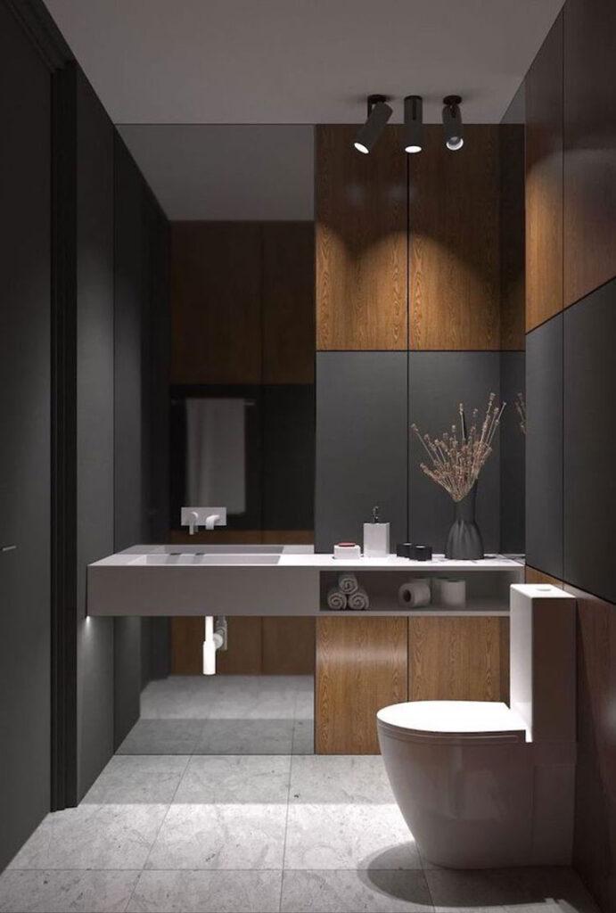 Idee per bagno nero e legno n.02