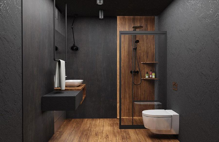 Idee per bagno nero e legno n.03