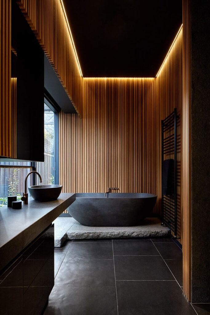 Idee per bagno nero e legno n.04