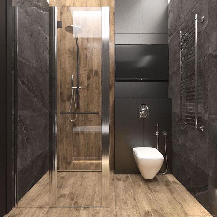Idee per bagno nero e legno n.05