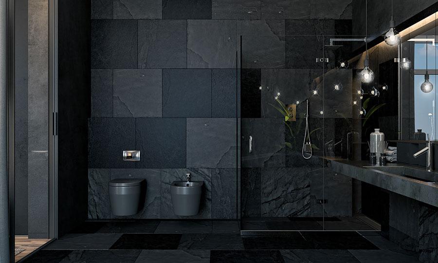 Idee per bagno nero opaco n.01