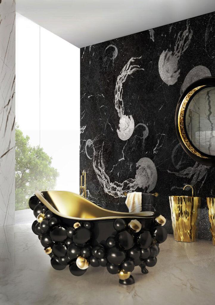 Idee per bagno nero e oro n.02