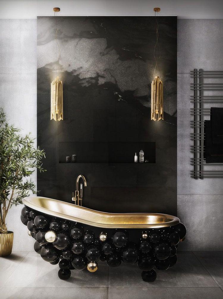 Idee per bagno nero e oro n.03
