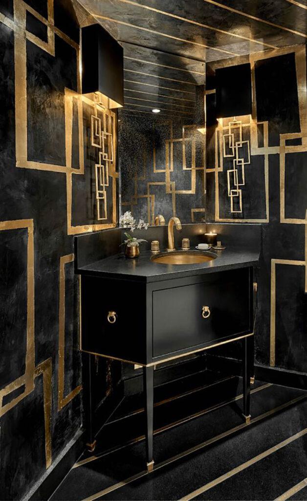 Idee per bagno nero e oro n.05