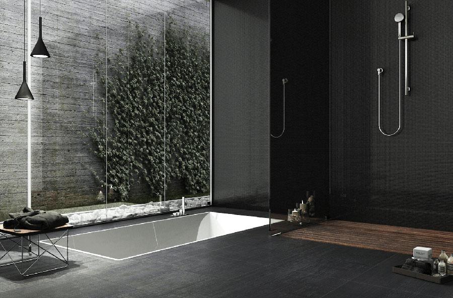 Idee per bagno con pavimento nero n.01