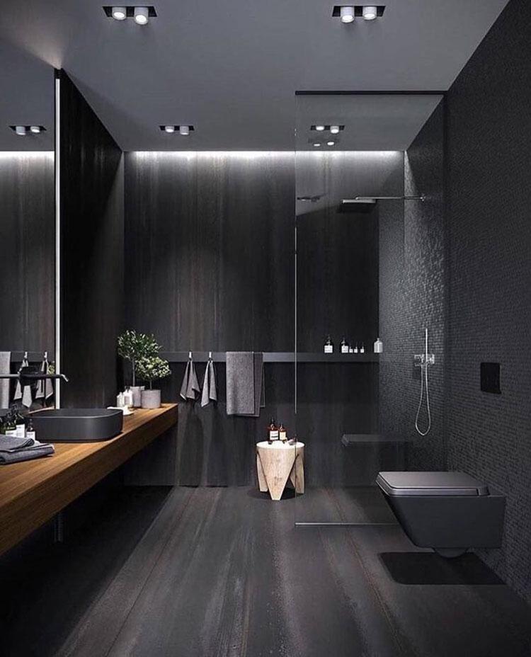Idee per bagno con pavimento nero n.04