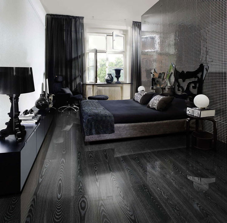 Arredamento camera da letto nero e argento n.01