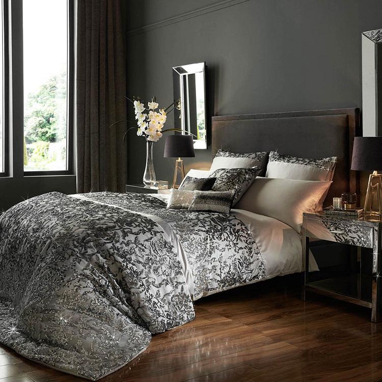 Arredamento camera da letto nero e argento n.03