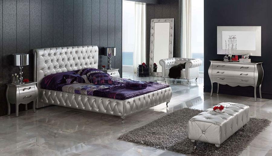 Arredamento camera da letto nero e argento n.04