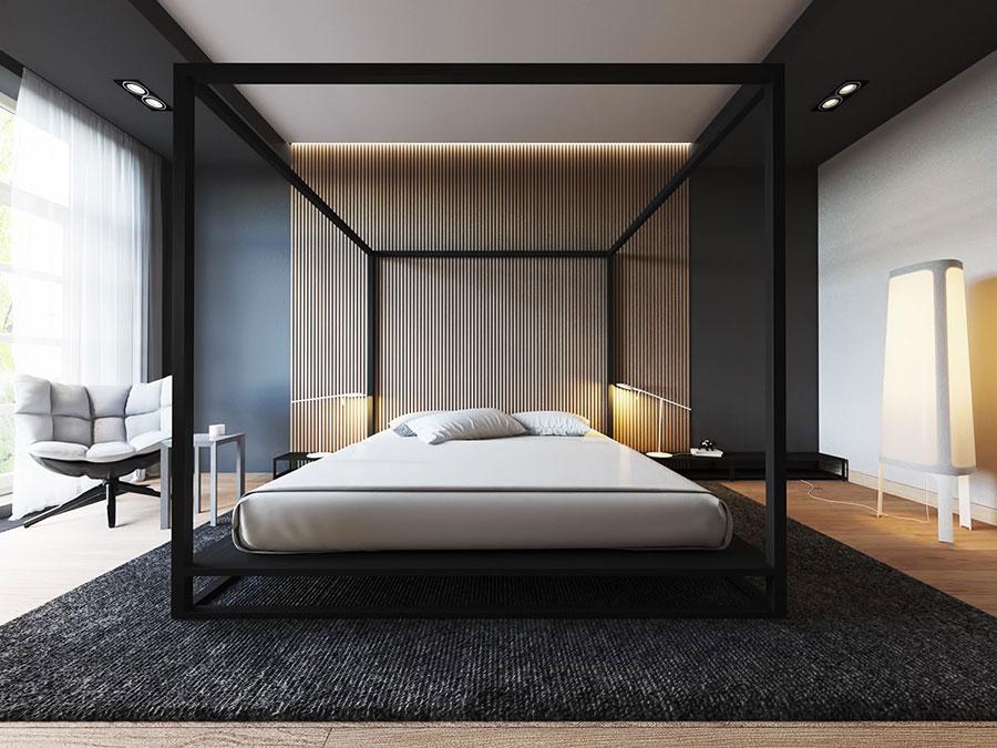 Arredamento camera da letto nero e oro n.01