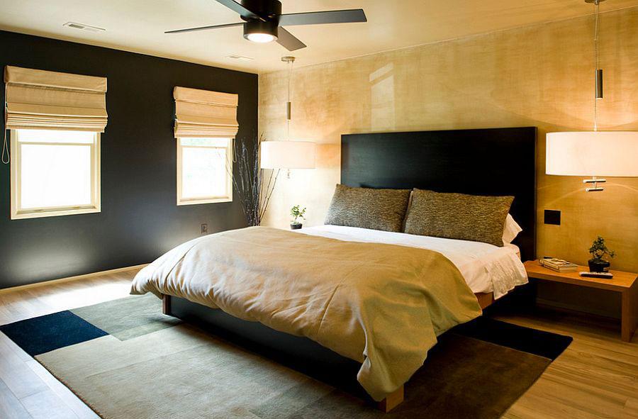 Arredamento camera da letto nero e oro n.06