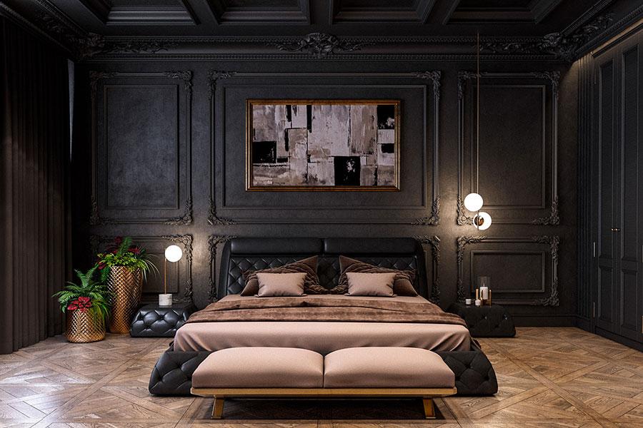 Arredamento camera da letto nero e oro n.08