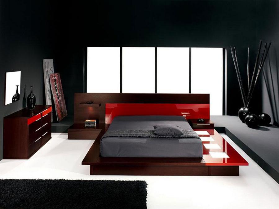 Arredamento camera da letto nero e rosso n.01