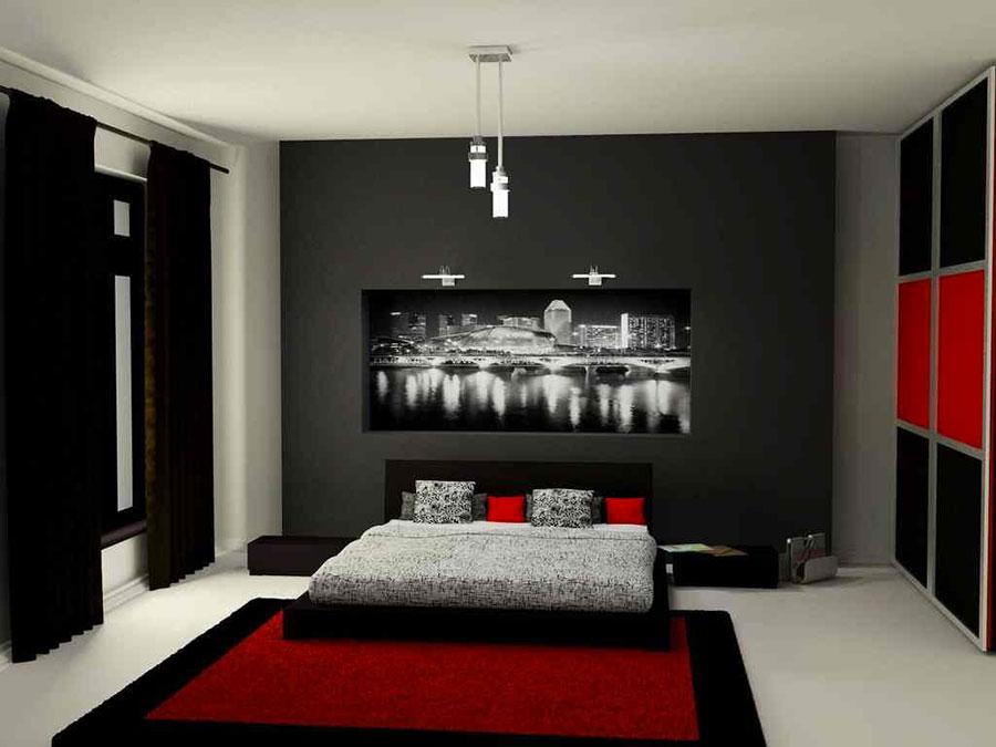 Arredamento camera da letto nero e rosso n.02