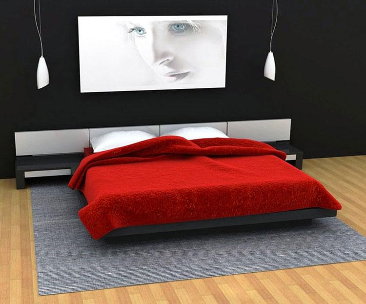 Arredamento camera da letto nero e rosso n.03