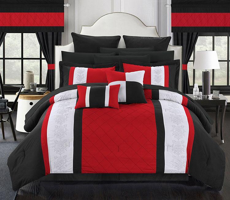 Arredamento camera da letto nero e rosso n.04