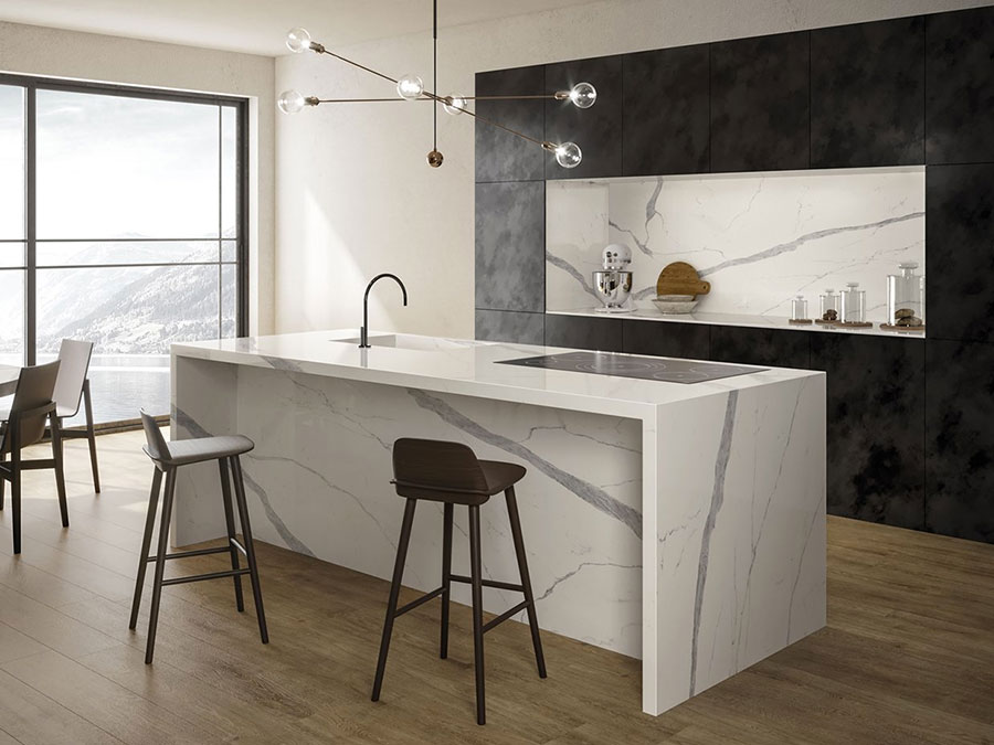 Cucina in gres effetto marmo n.01