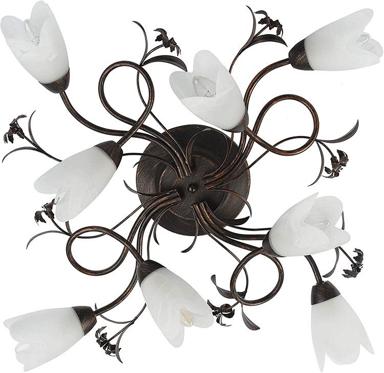 Modello di lampadario in ferro battuto e ceramica n.05