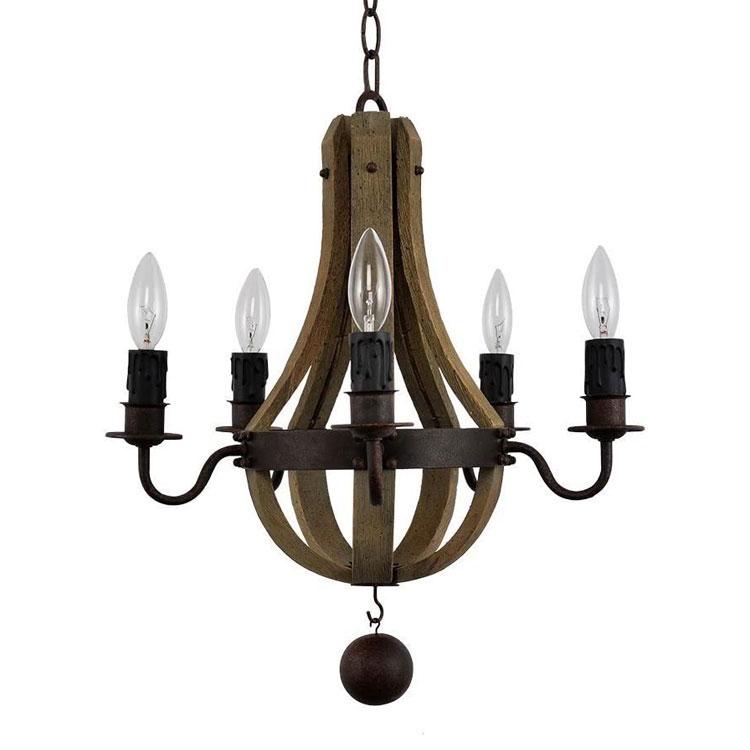 Modello di lampadario in ferro battuto e legno n.01