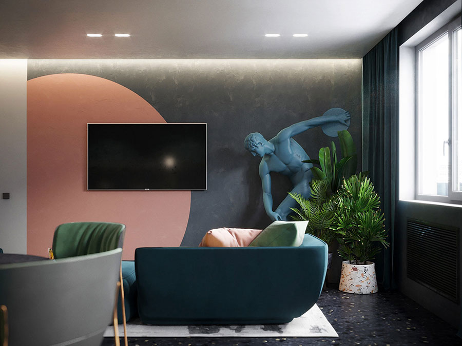Colore pareti rosa antico e grigio 2