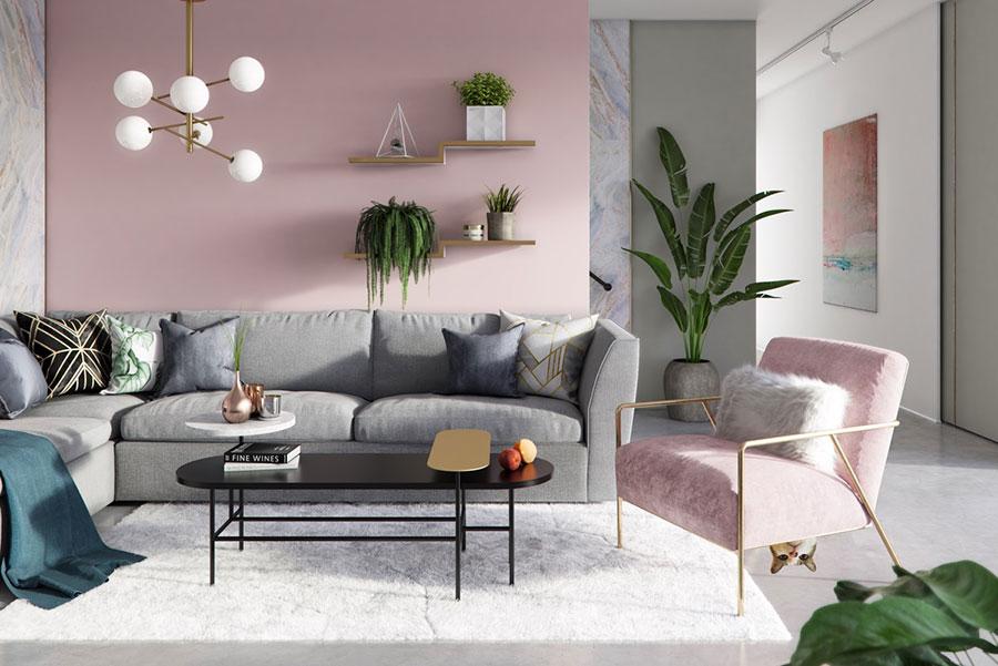 Colore pareti rosa antico e grigio 1
