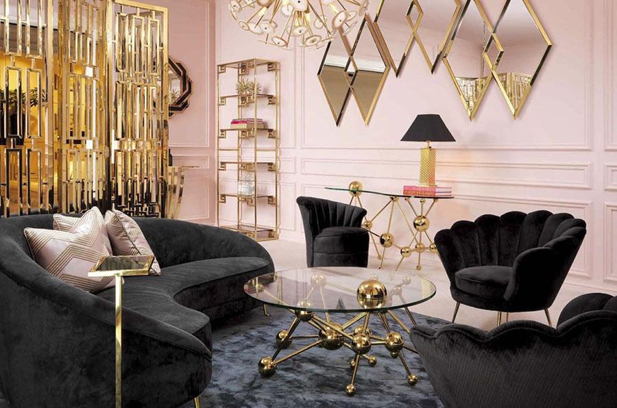 Colore pareti rosa antico e oro