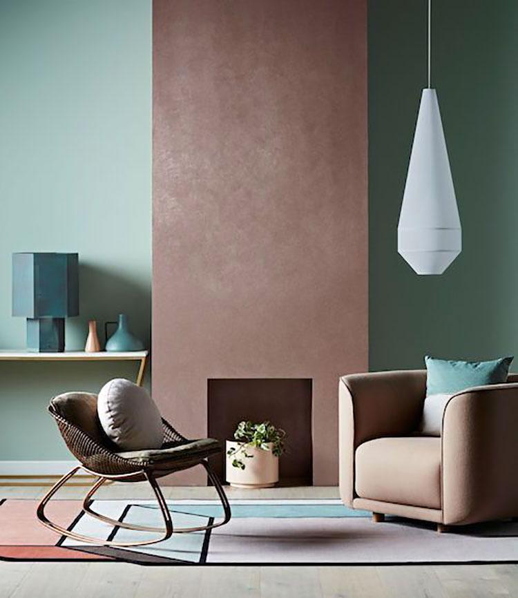 Colore pareti rosa antico e verde
