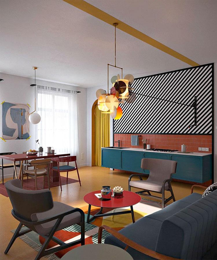 Idee per un soggiorno con angolo cottura n.01