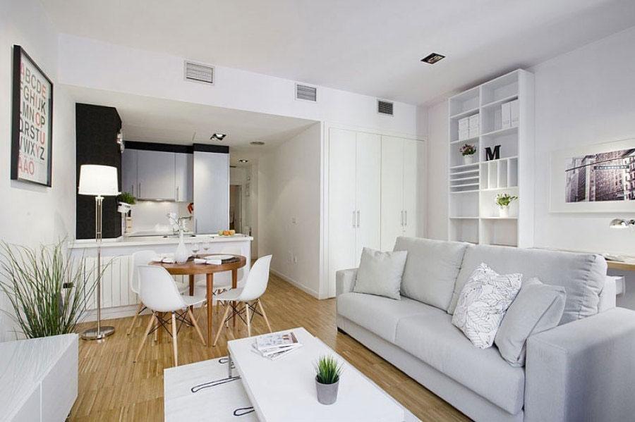 Idee per un soggiorno con angolo cottura n.04
