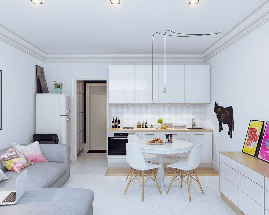 Idee per un soggiorno con angolo cottura n.05