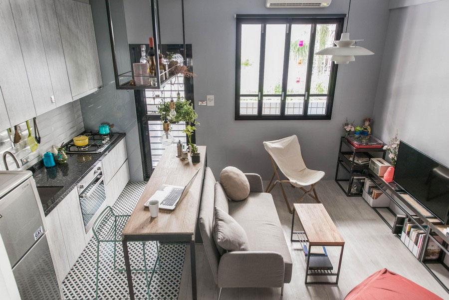Idee per un soggiorno con angolo cottura n.06