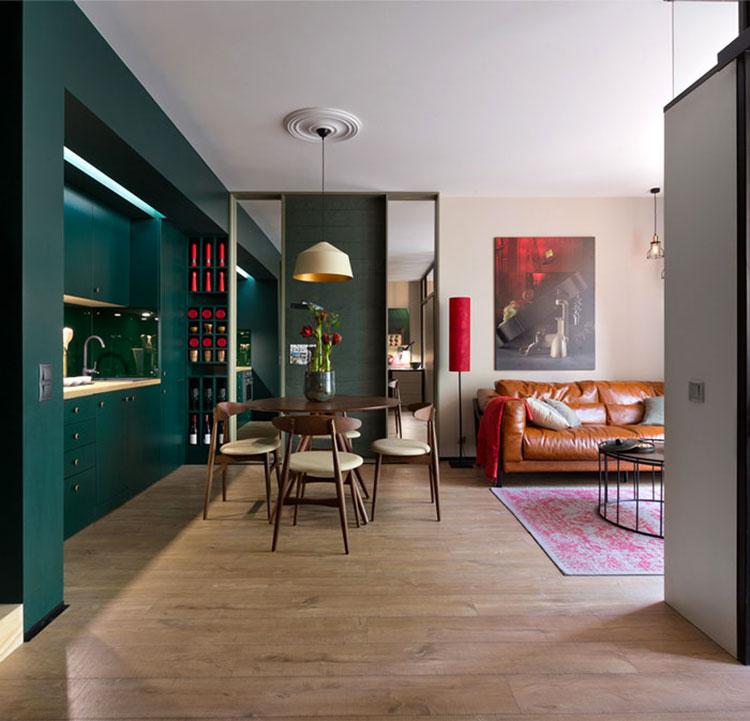 Idee per un soggiorno con angolo cottura n.09