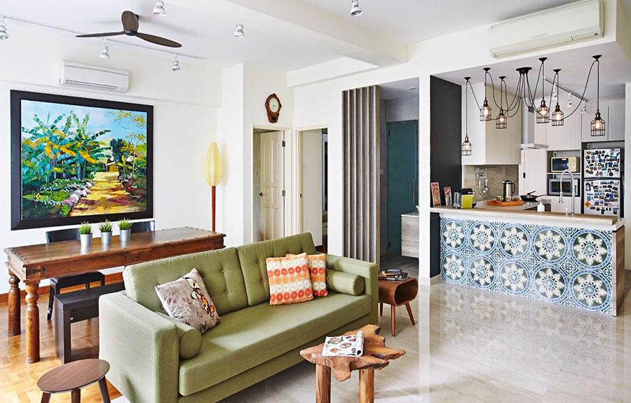 Idee per un soggiorno con angolo cottura n.10