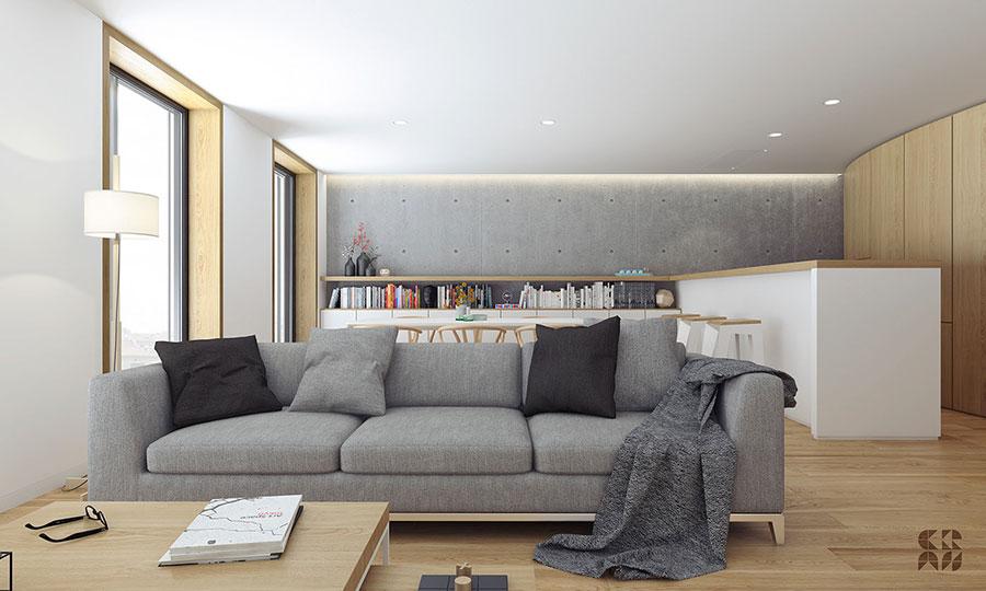 Idee per un soggiorno con angolo cottura n.13
