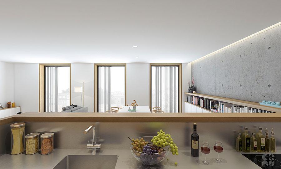 Idee per un soggiorno con angolo cottura n.14