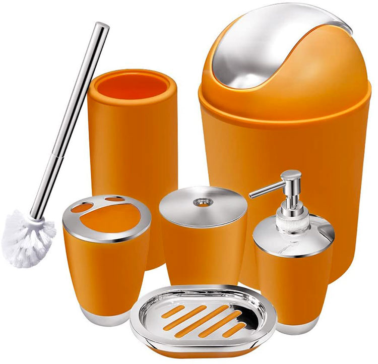 Modello di accessori per bagno arancione 02