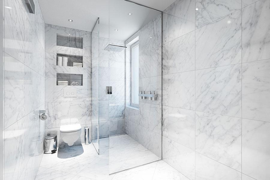Idee per arredare un bagno in marmo bianco n.24