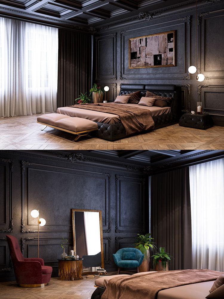 Camera da letto vintage moderna n.09