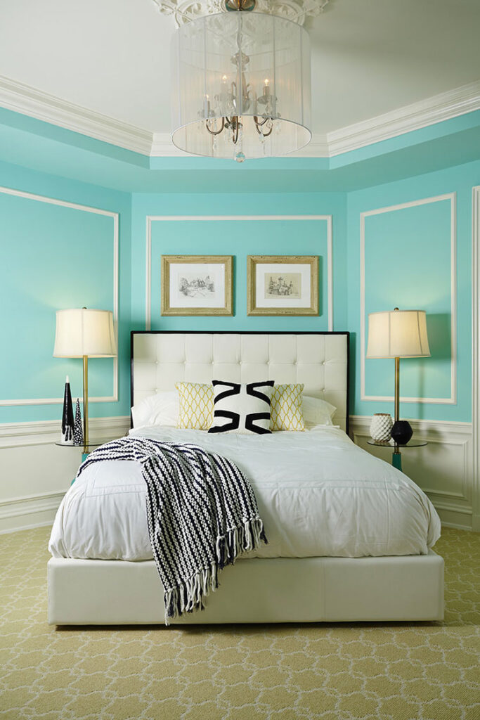 Arredamento camera da letto color Tiffany 04
